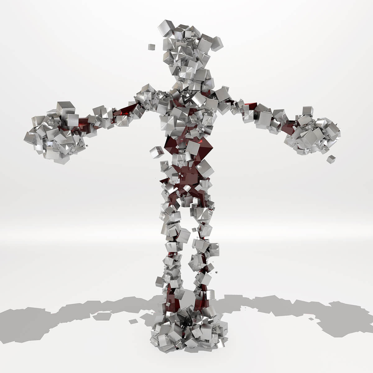 3D render of character shape made out of glass and metal cubes
