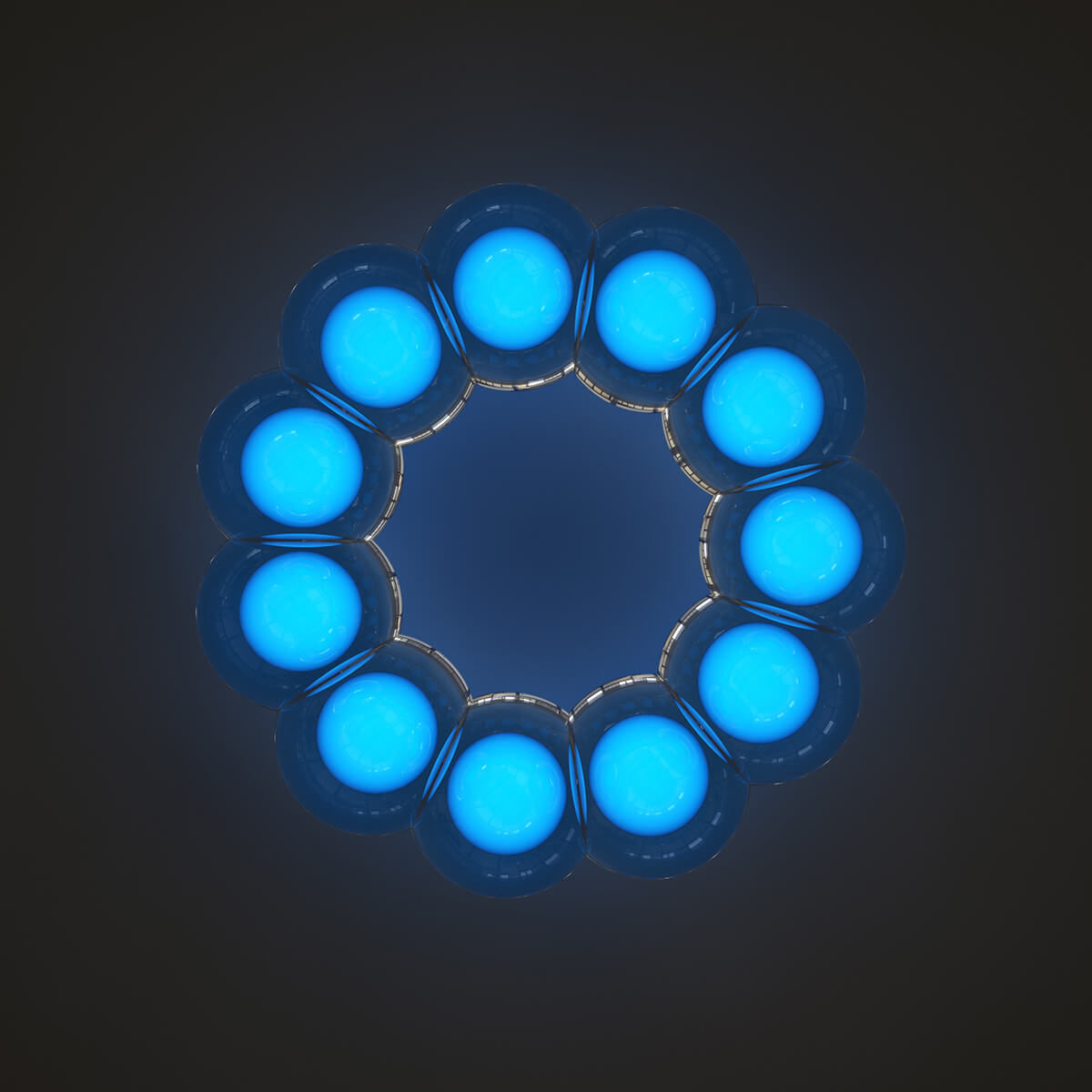 3D render of radial connected glass bubbles with blue lights inside