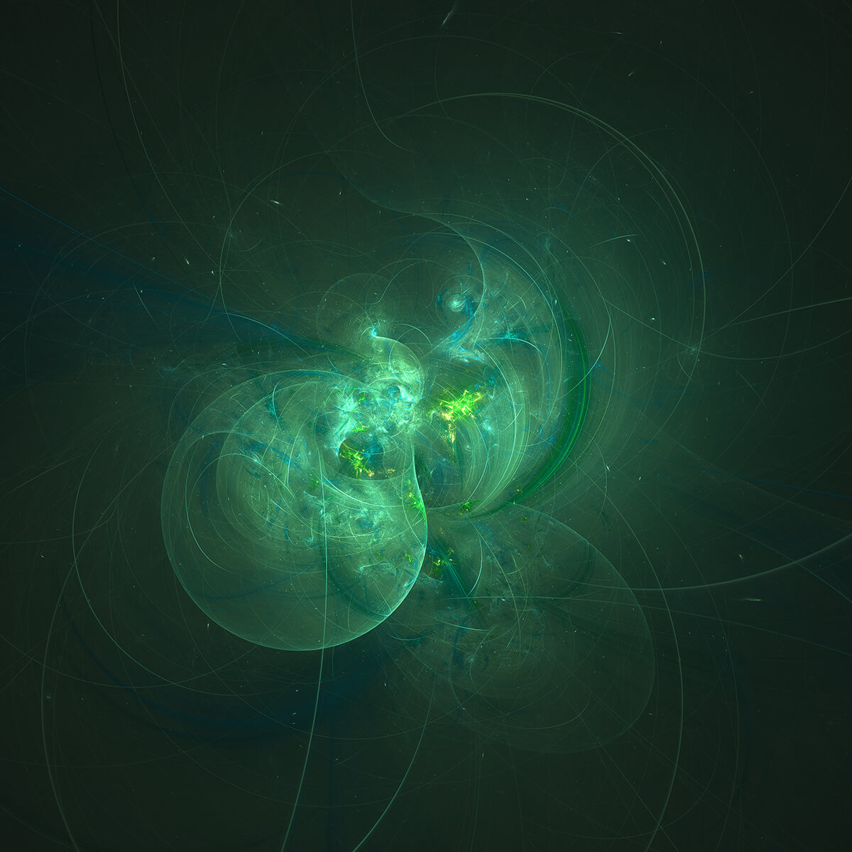 3D render of green fractal shapes