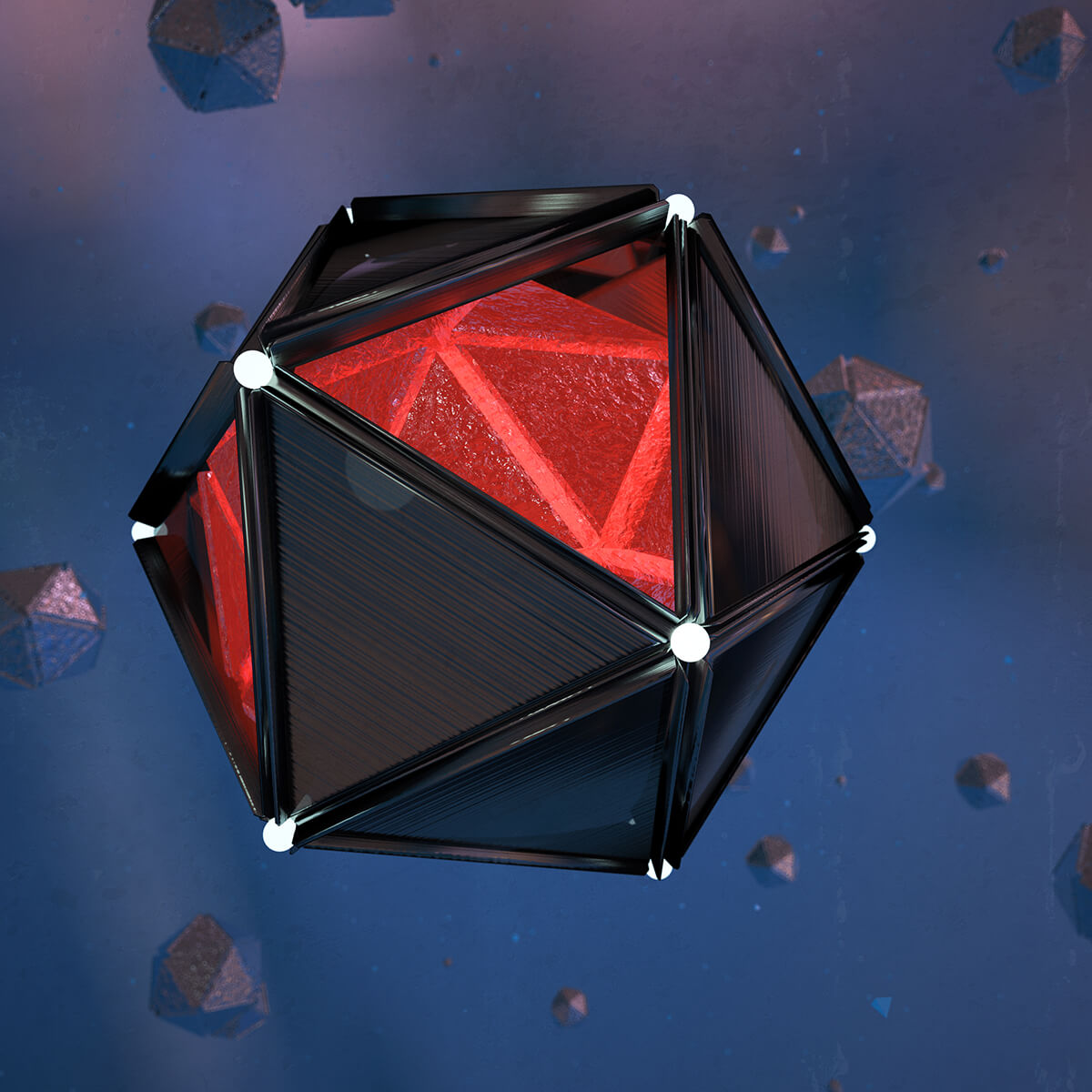 3D render of black metal octagons filled with red liquid floating in space
