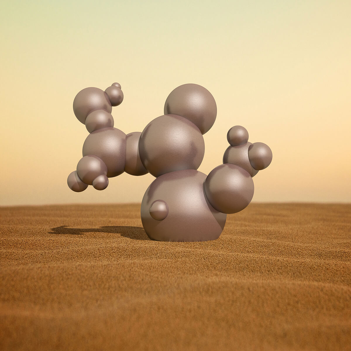 3D render of a cactus like object made of metal spheres in the desert