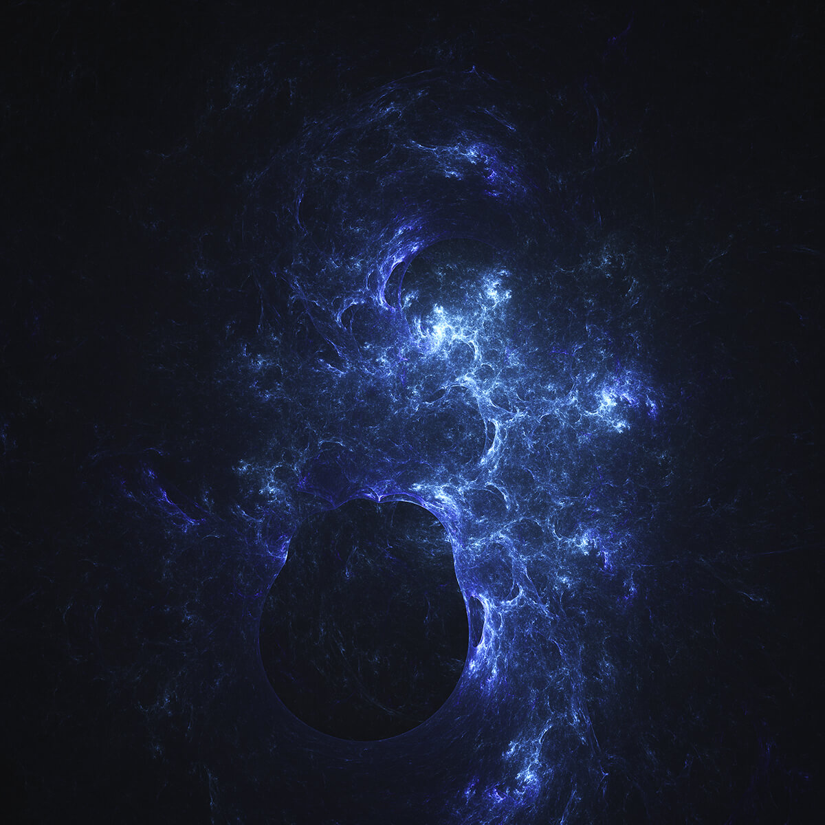 3D render of a planet in a blue galaxy