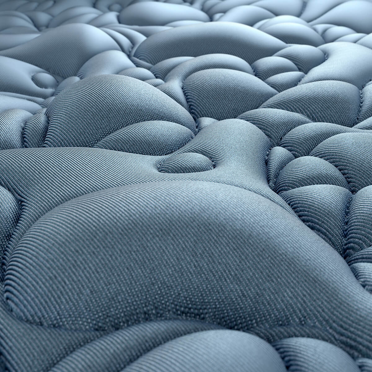 3D render of a flowy landscape made up out of denim