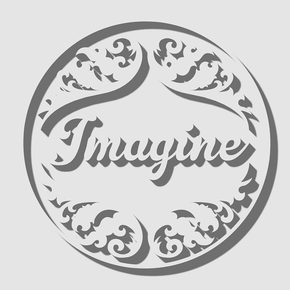 3D render of text Imagine with floral pattern