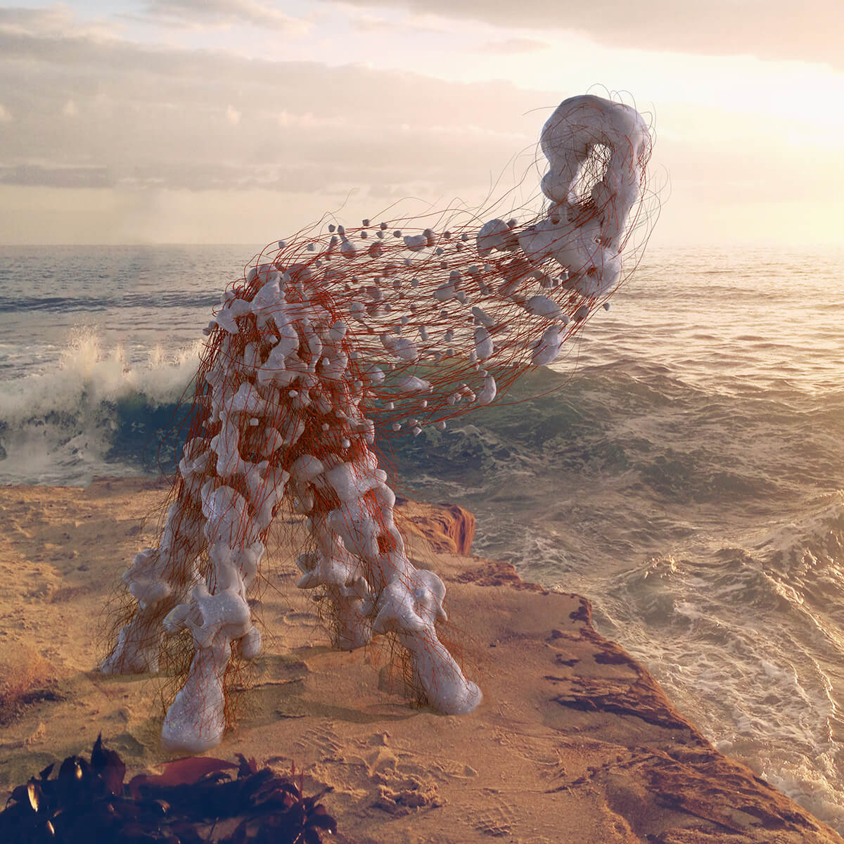 3D render of organic alien animal made out of meat lumps and strings staring at a sea