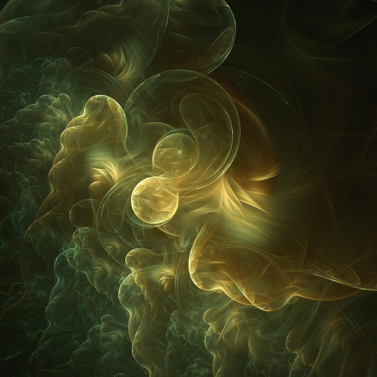 3D render of fractal green fluids