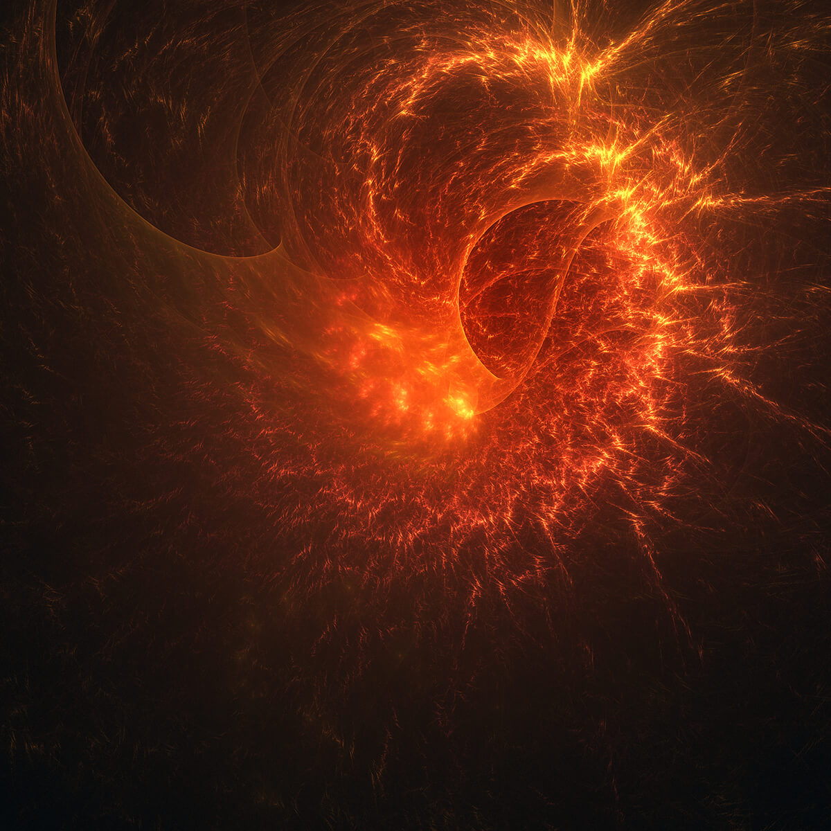 3D render of a burning event horizon of a black hole