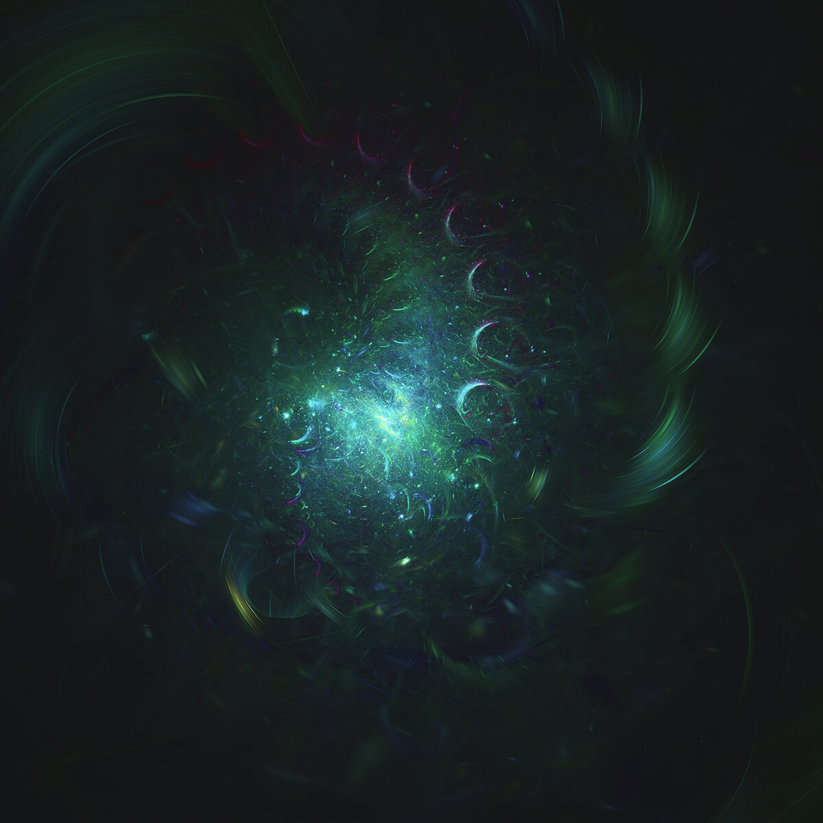 3D render of a green rotating fractal