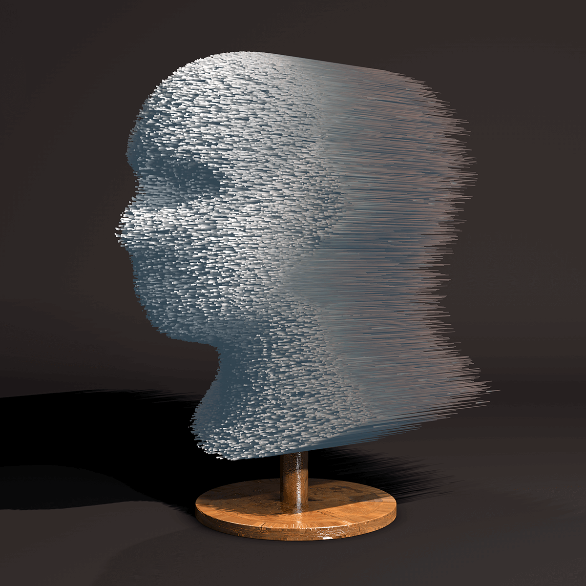 3D render of a human head bust build up out of thin straws