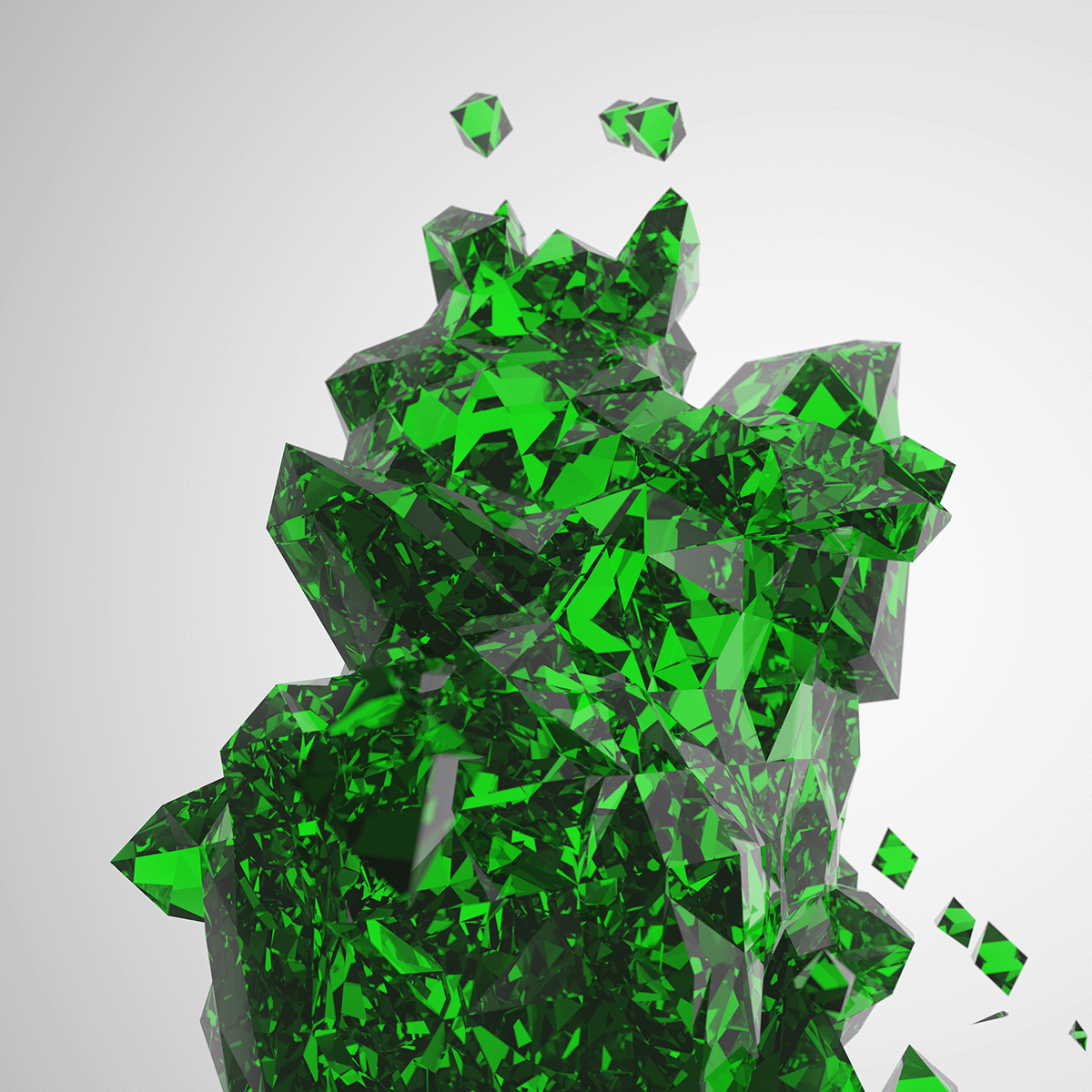 3D render of diamond structure with an emerald color