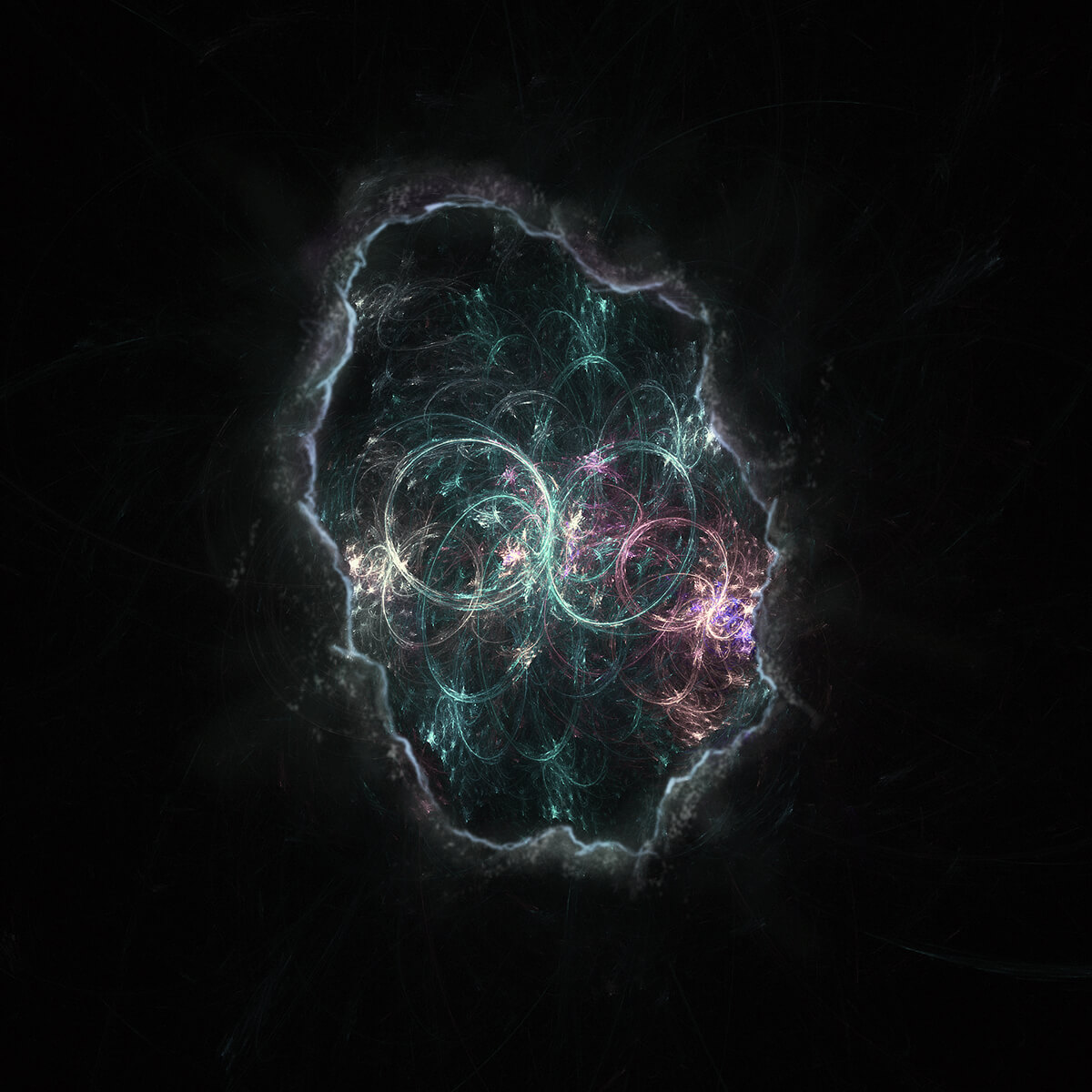 3D render of fractal space seen from a cave