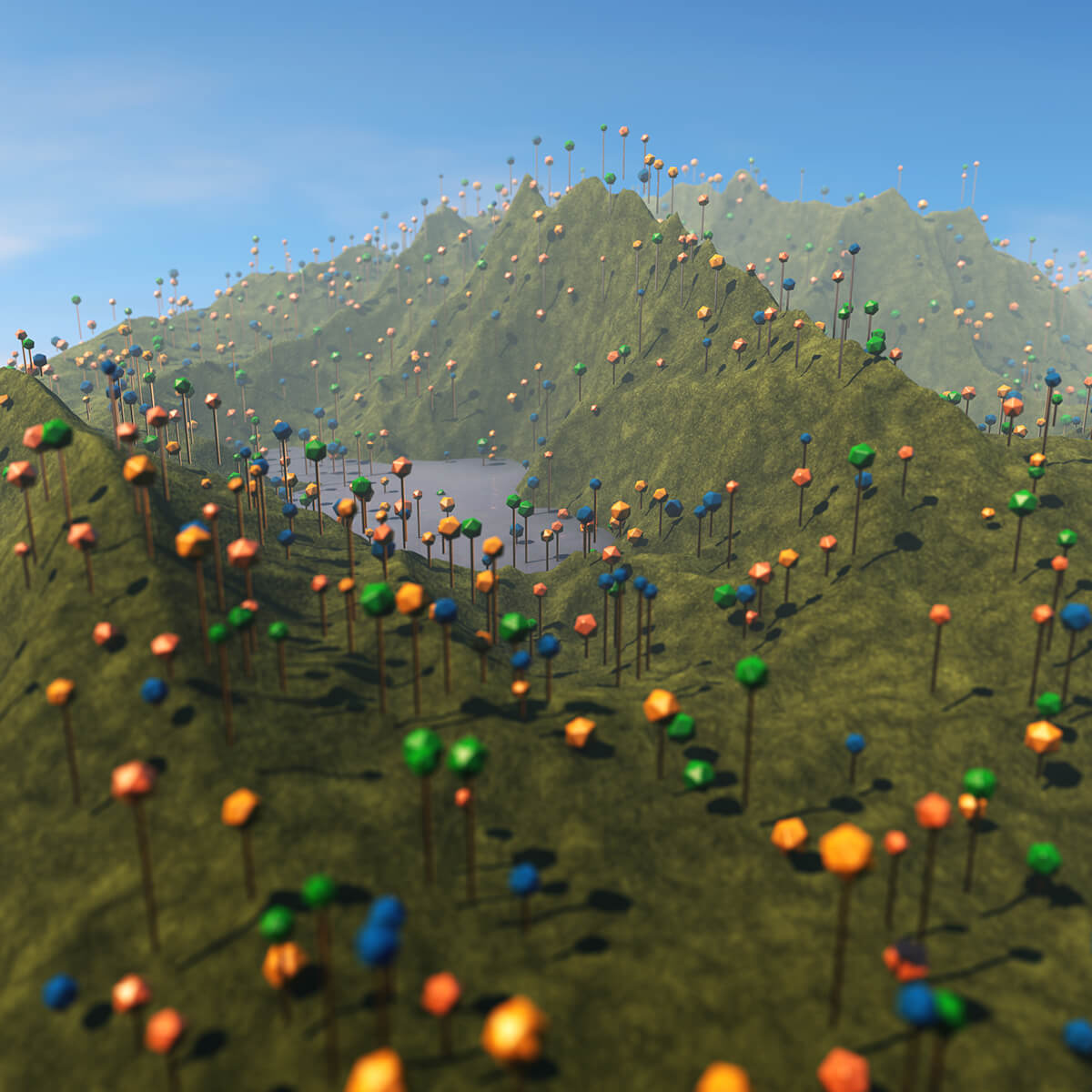 3D render of realistic landscape filled with cartoony hexagon trees