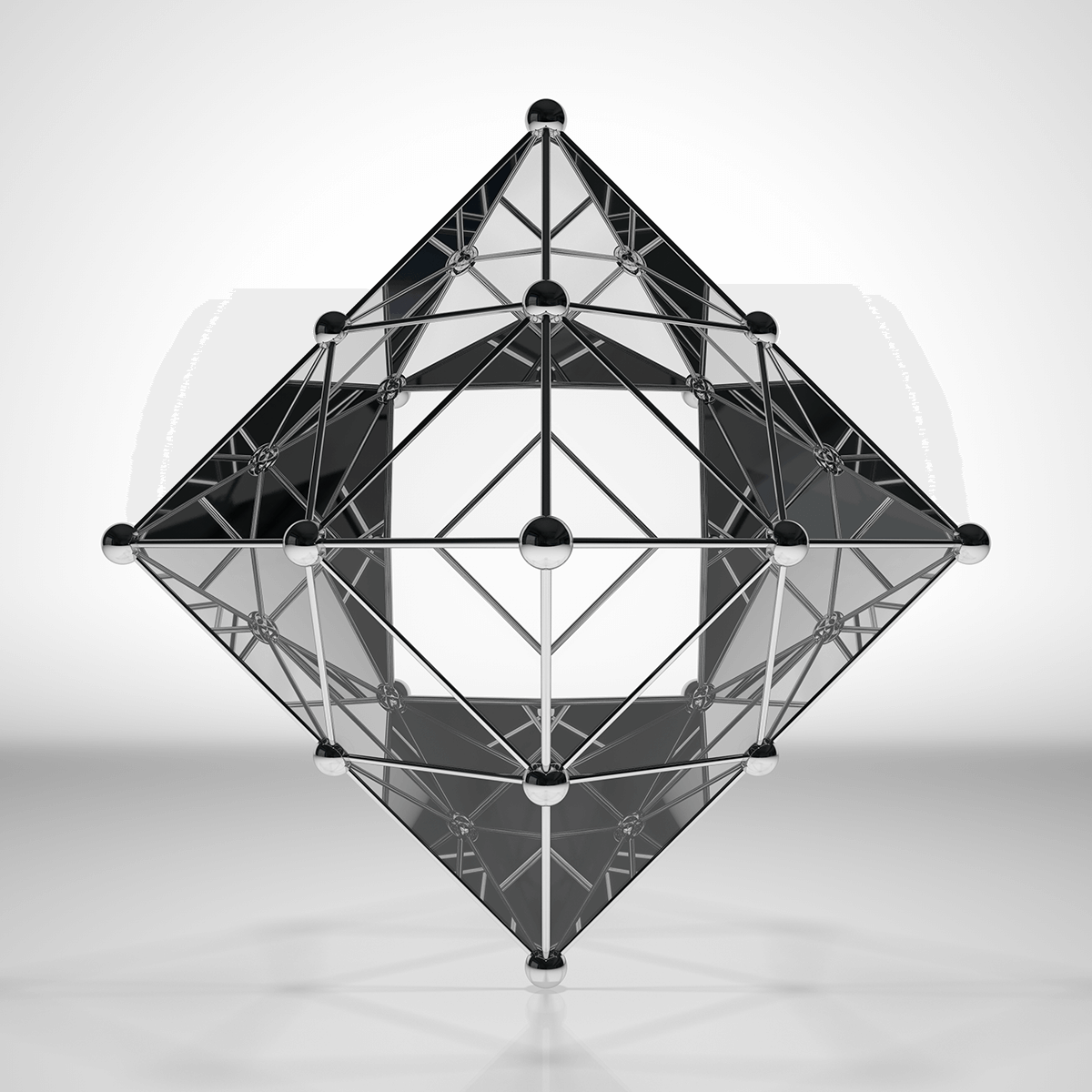 3D render of a piramid shape made of glass and metal orbs