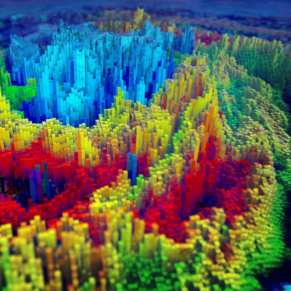 3D render of a landscape made using only extruded coloured cubes