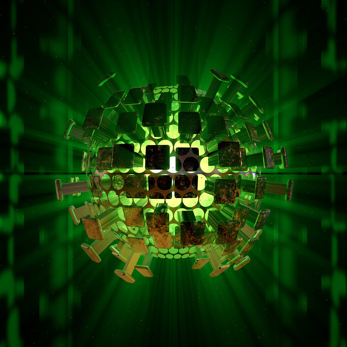 3D render of punched-out metal sphere emitting a strong green light