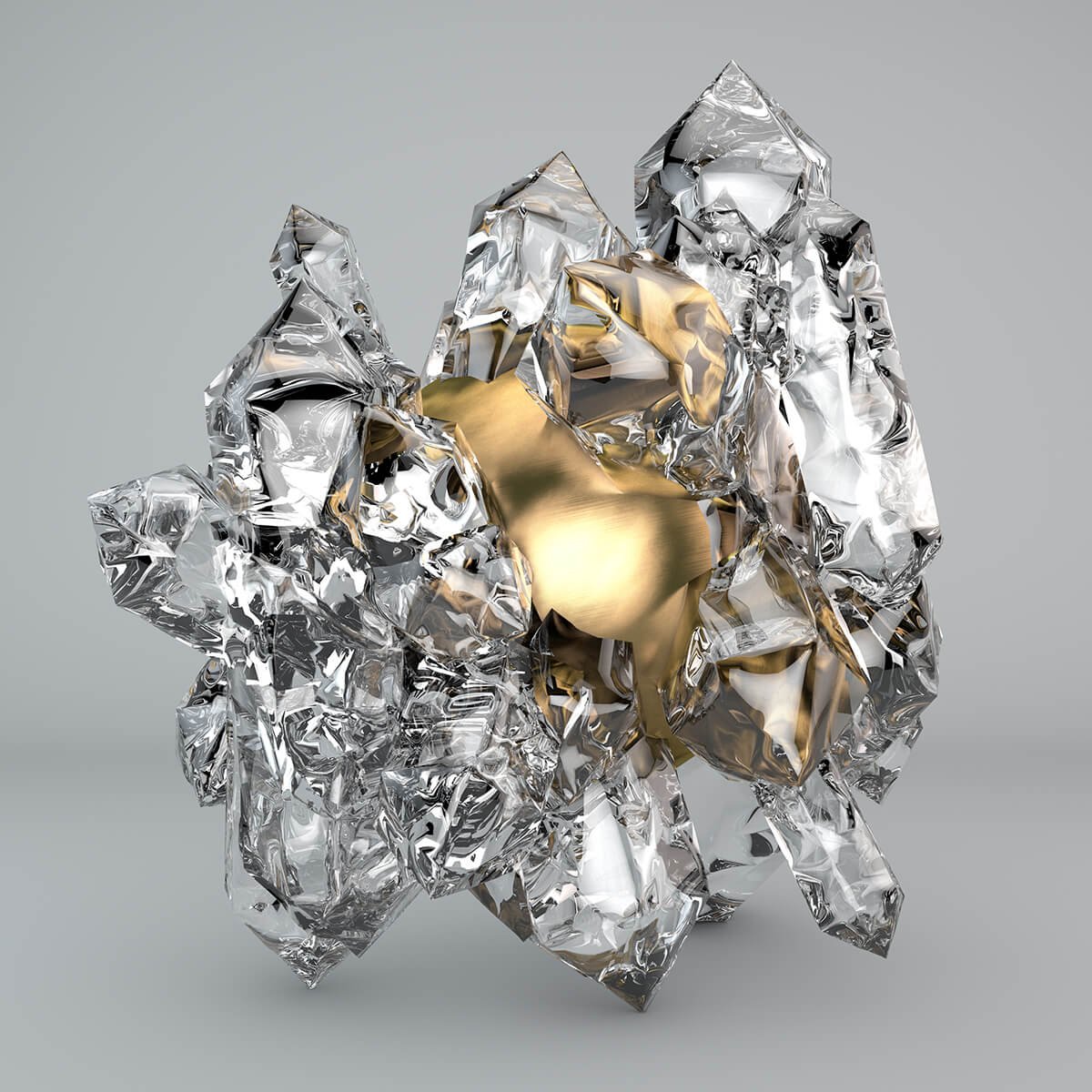 3D render of a golden sphere stuck in a structure of ice