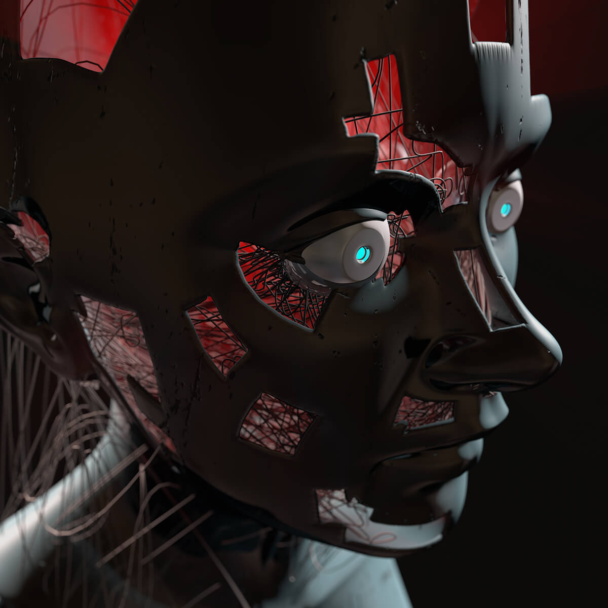 3D render of a humanoid droid with holes in its head showing wires