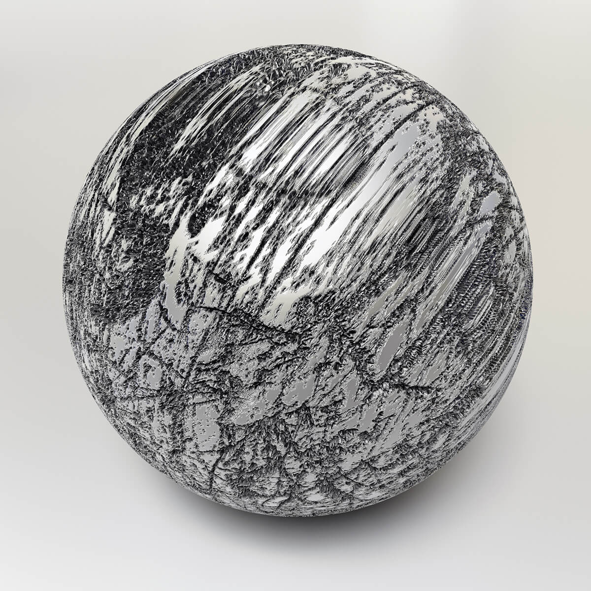 3D render of heavily scratched metal sphere
