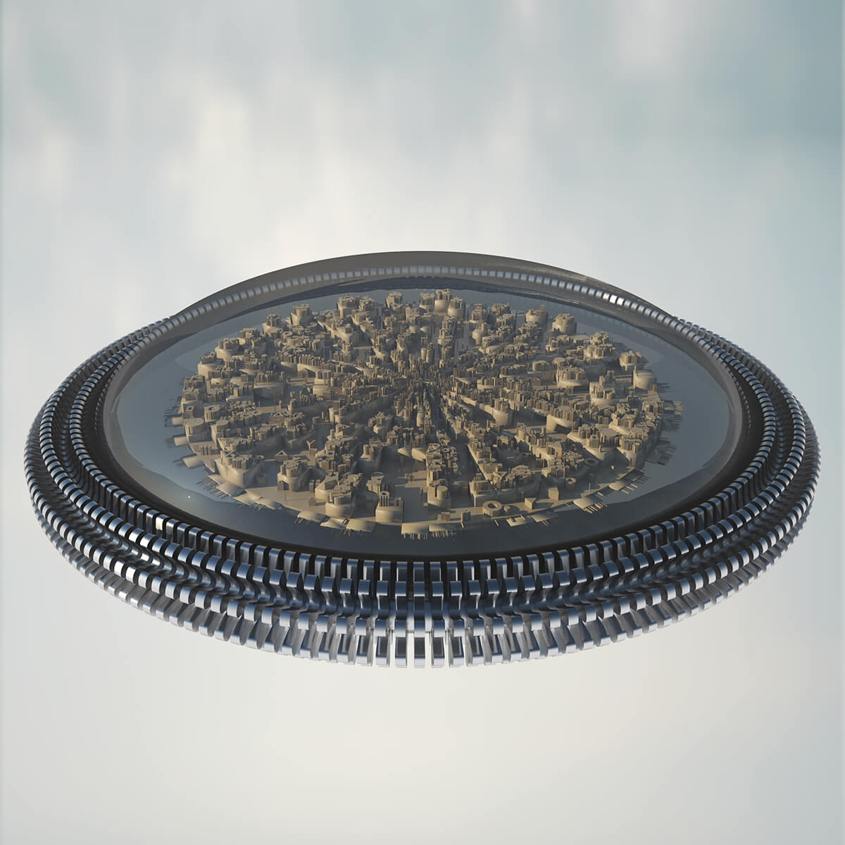 3D render of city contained in a glass dome on a floating metal platform
