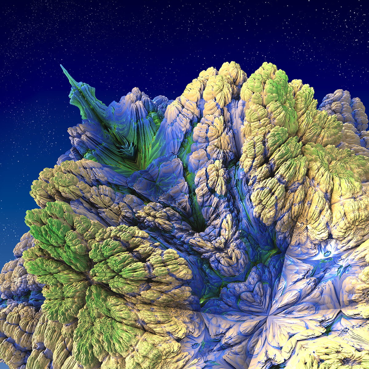 3D render of fluorescent alien mountain structure