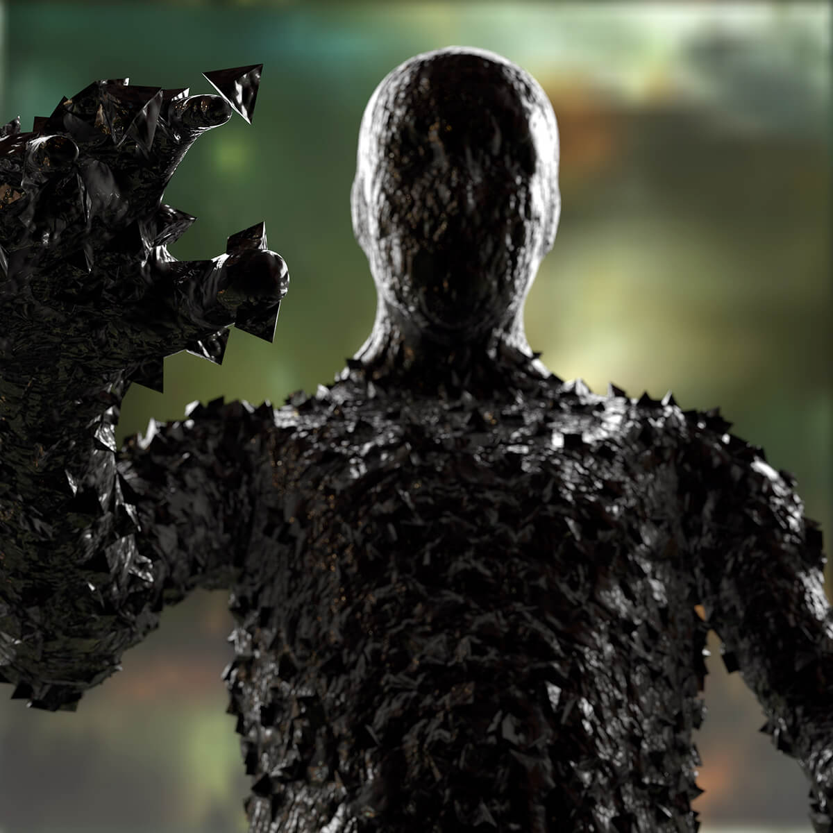 3D render of a mysterious figure made of black metal reaching out