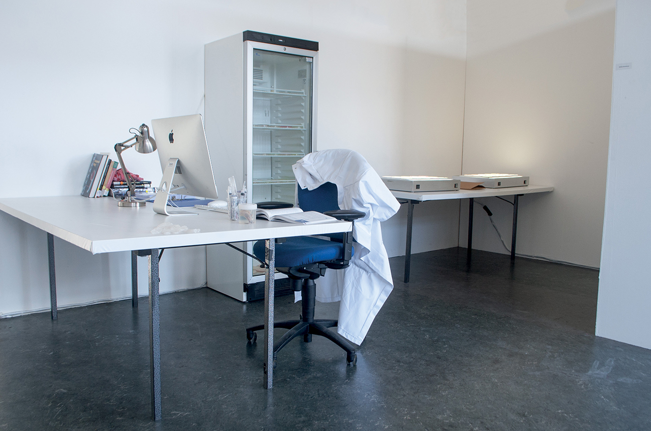 Fading boundaries workspace showing the setup of the experiment with multiple desks