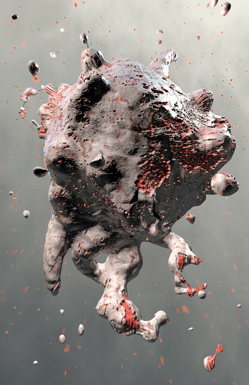 Marillion's fans book 3D render of a virus looking like meat being torn apart