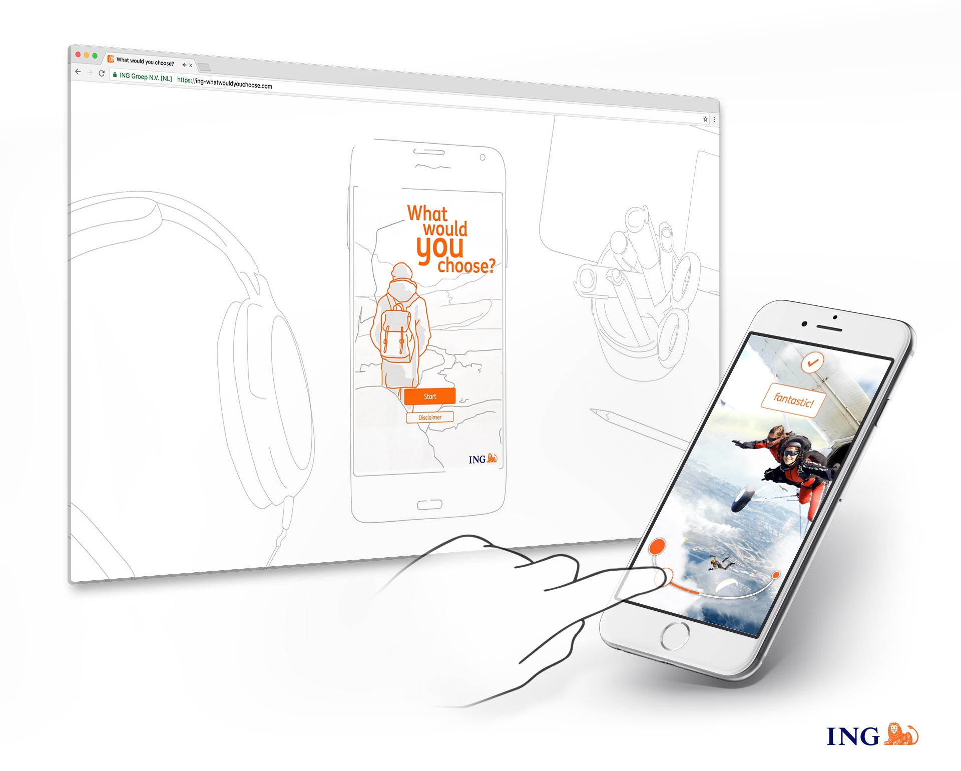 ING what would you choose mockup showing the game in a browser screen and on a phone