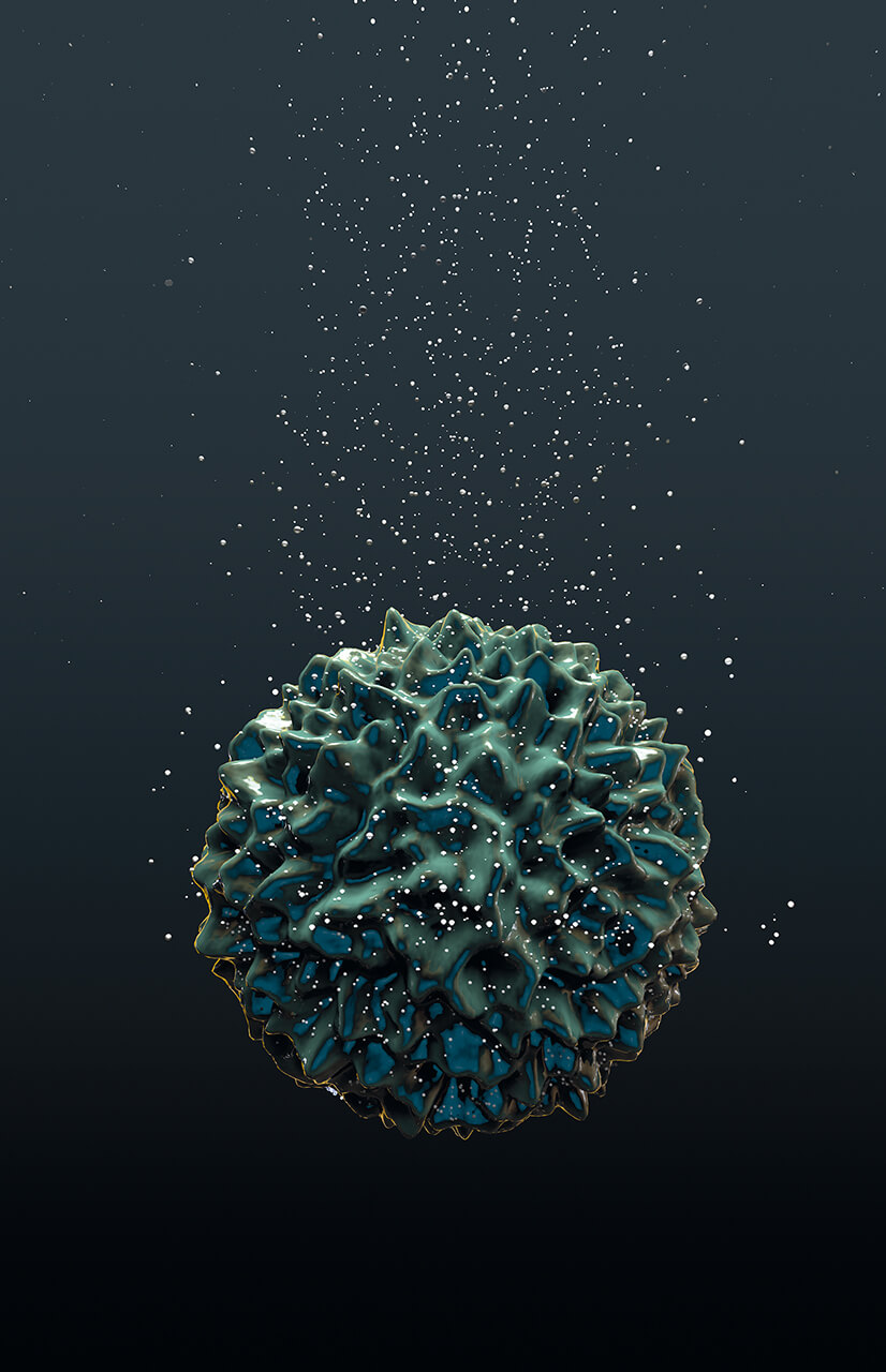 Marillion's fans book 3D render of a virus sinking in water