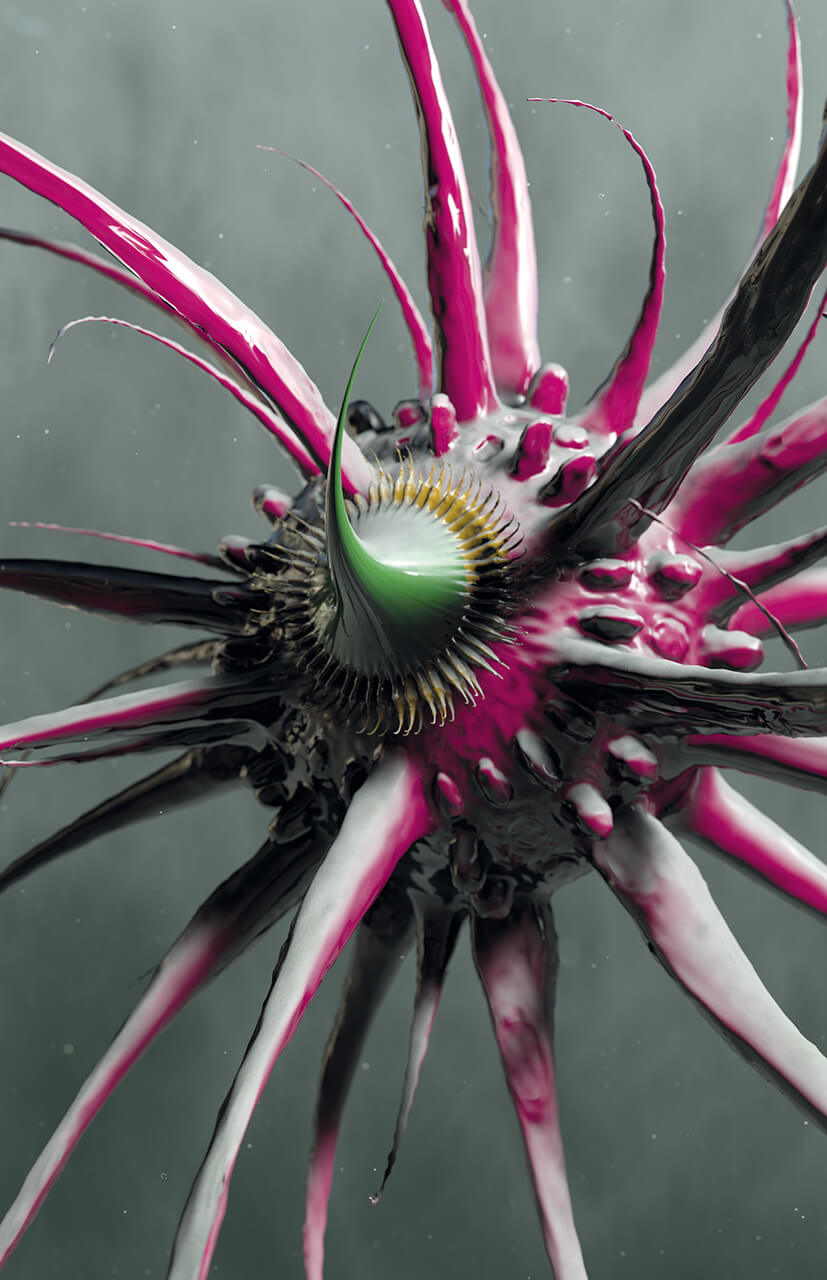 Marillion's fans book 3D render of a virus looking like a purple plant bulb