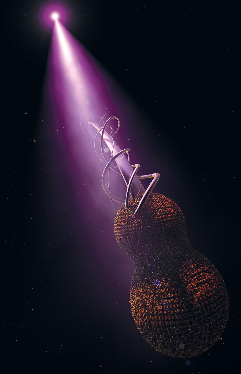 Marillion's fans book 3D render of a virus shaped like an abstract violin in the dark