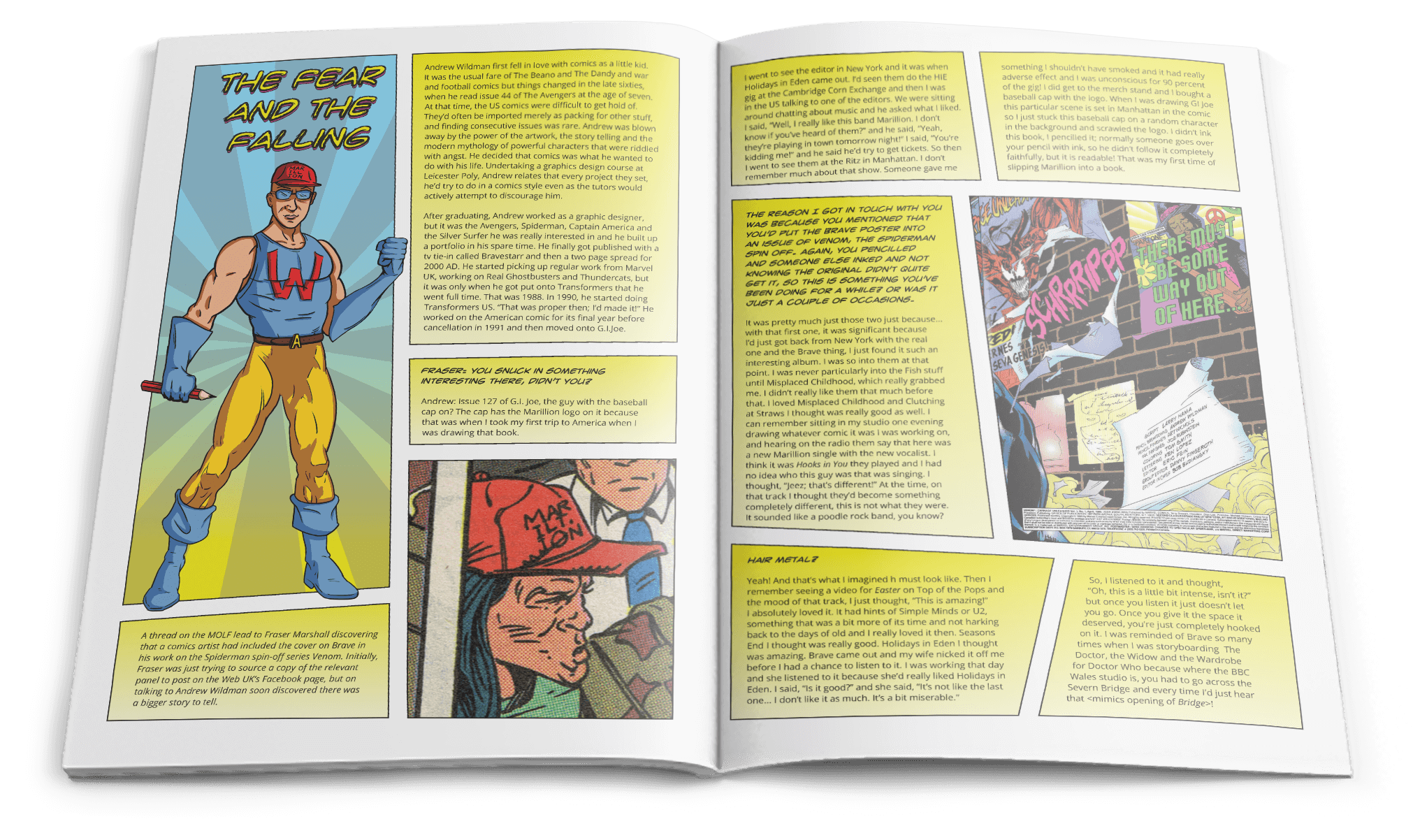 WebUK magazine spread showing a comic layout for an article about Andrew Wildman