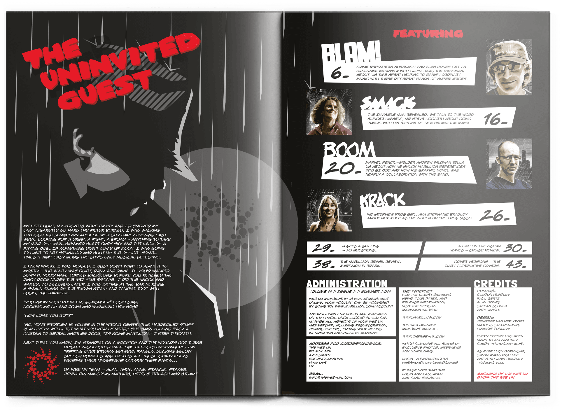 WebUK Magazine spread with the index in an art noir style
