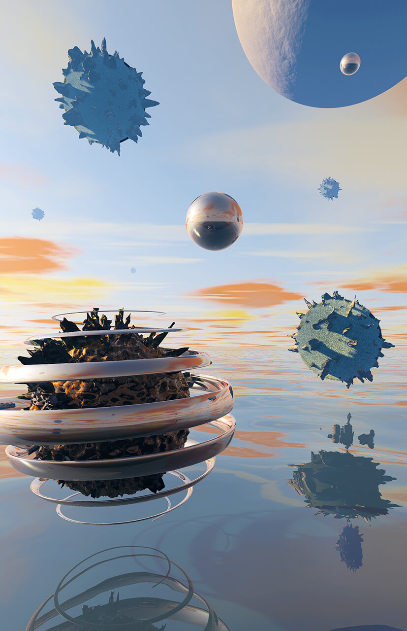 Marillion's fans book 3D render of a virus in a dali setting with a sea and floating islands