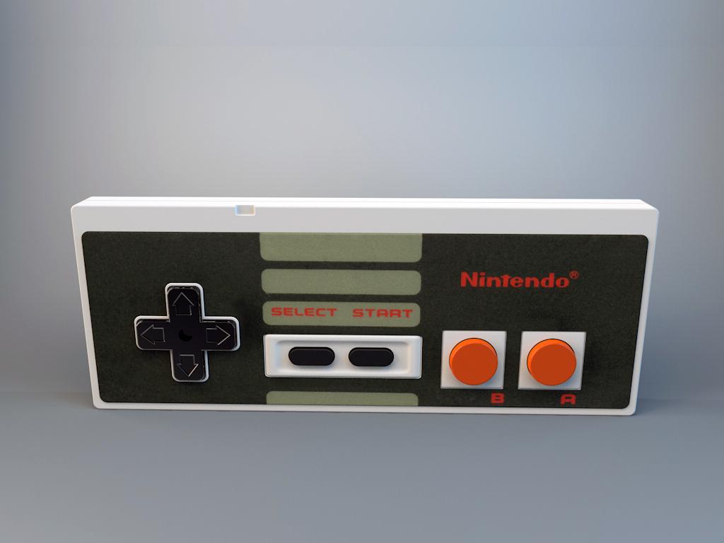 3D render photorealistic Nintendo NES controller