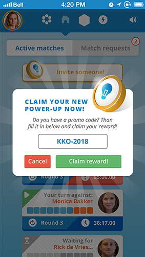 Knowledge knockout Claim Powerup screen