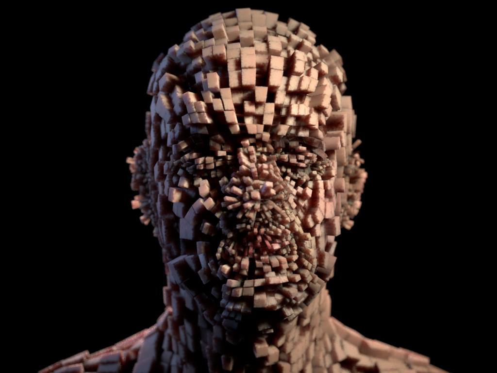 3D render human face looking like cut up in cube dices being extruded