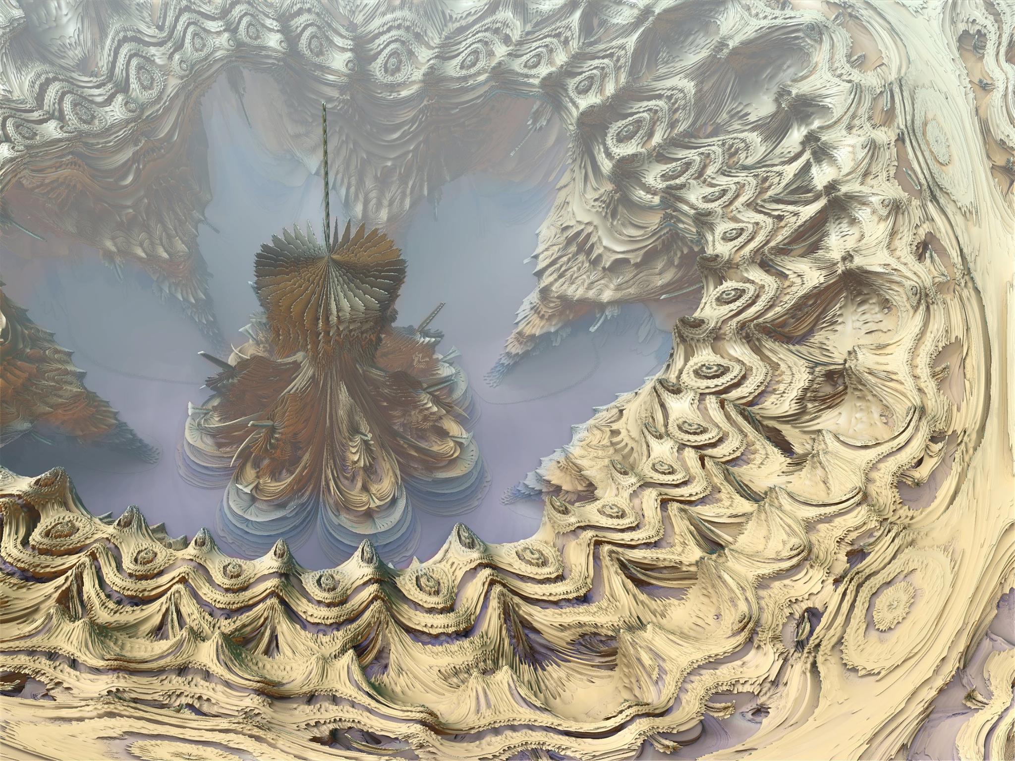 3D render fractal sandstone landscape near lake