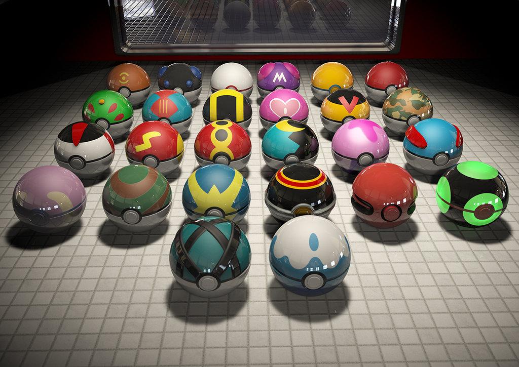 3D render variety of pokeballs from pokemon on tile surface