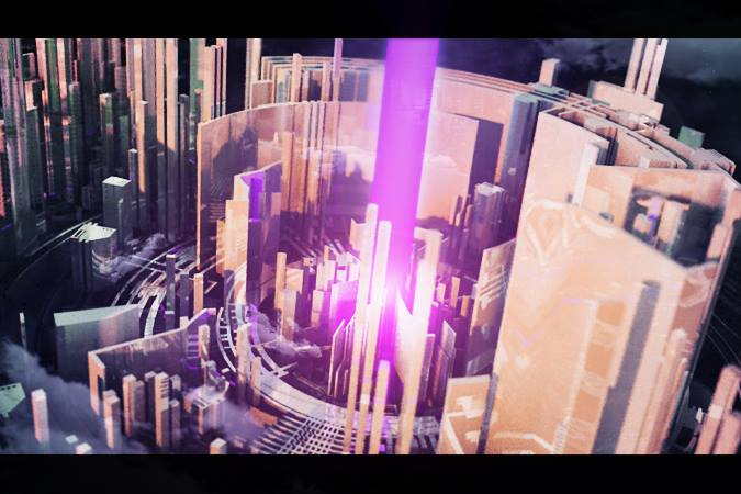 3D render lightbeam in abstract city