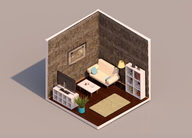 3D render isometric living room with furniture
