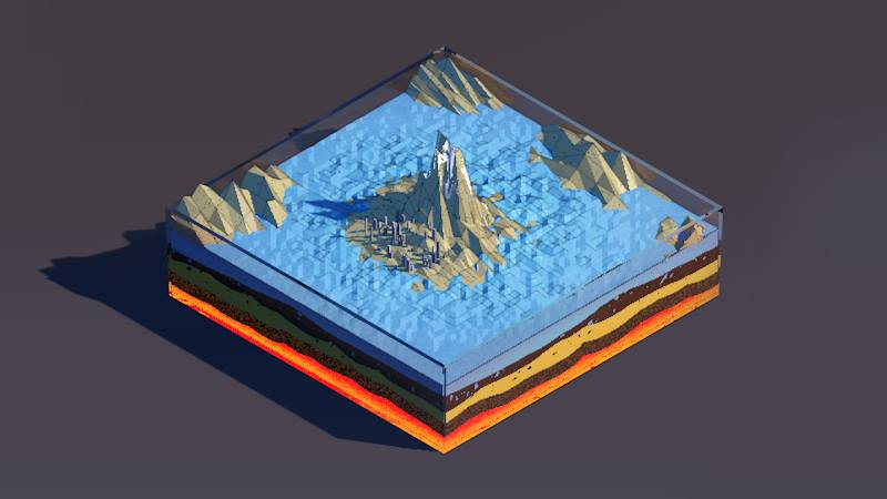 3D render isometric low poly slice of earth