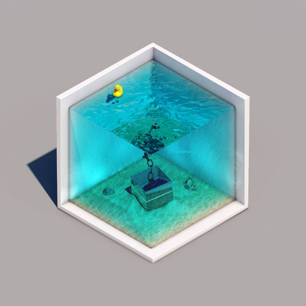 3D render slice of water wit sunken cube and rubber duck floating on the water
