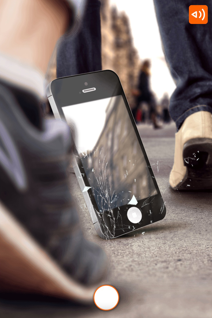 ING-what would you choose scenario where you see a phonescreen breaking from falling on the ground in a shopping street