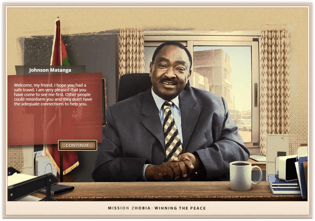 Mission Zhobia dialog screen talking with game characer Johnson Matanga looking happy in his office