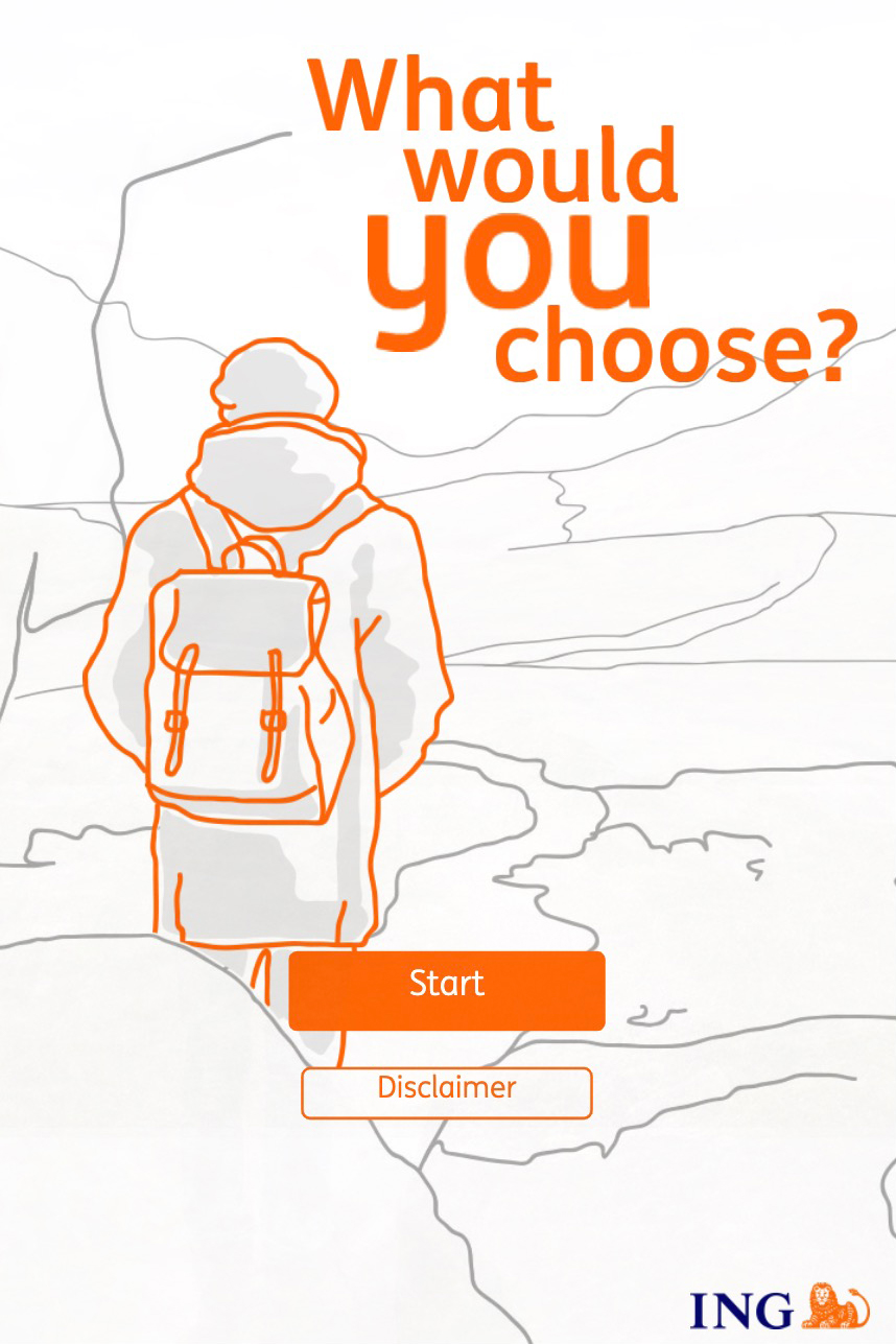 ING-what would you choose splashpage with the logo and a character looking into the distance drawn in a line-art style
