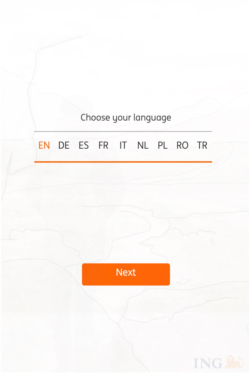 ING-what would you choose language selection screen