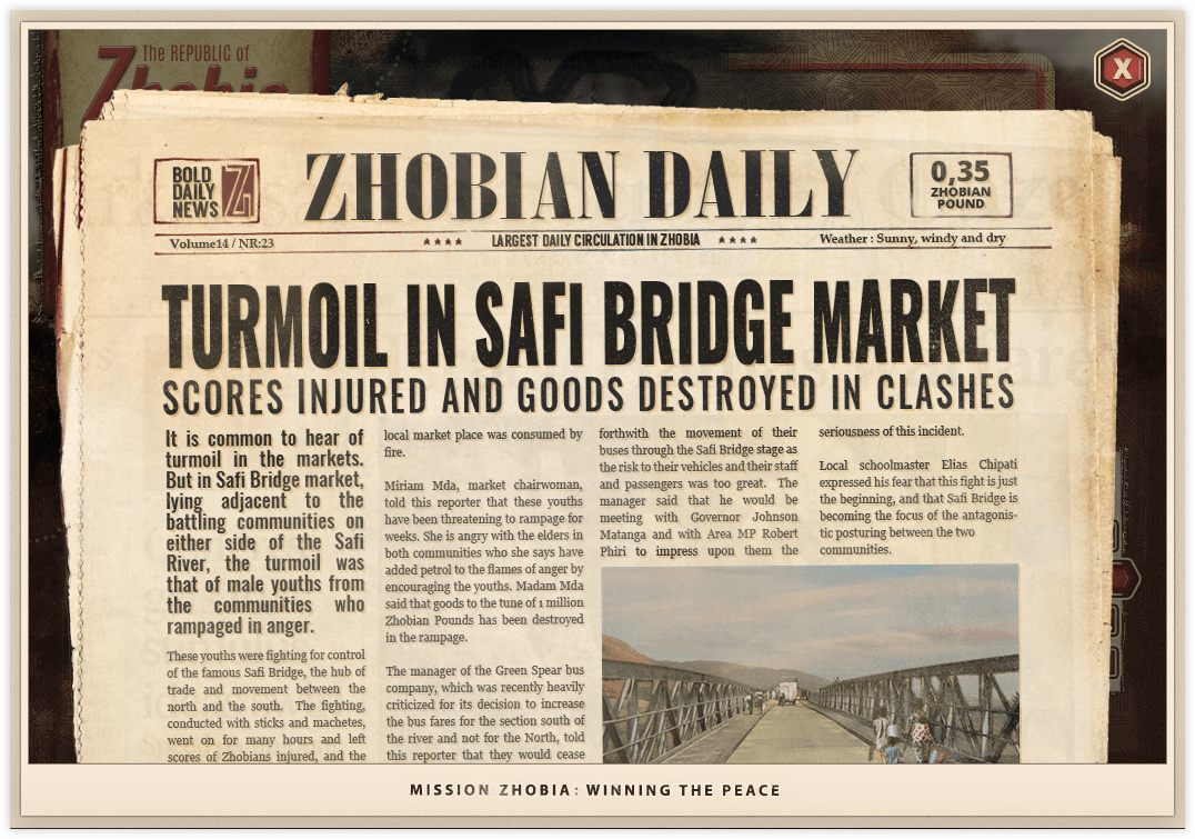 Mission Zhobia in-game newspaper article about turmoil area