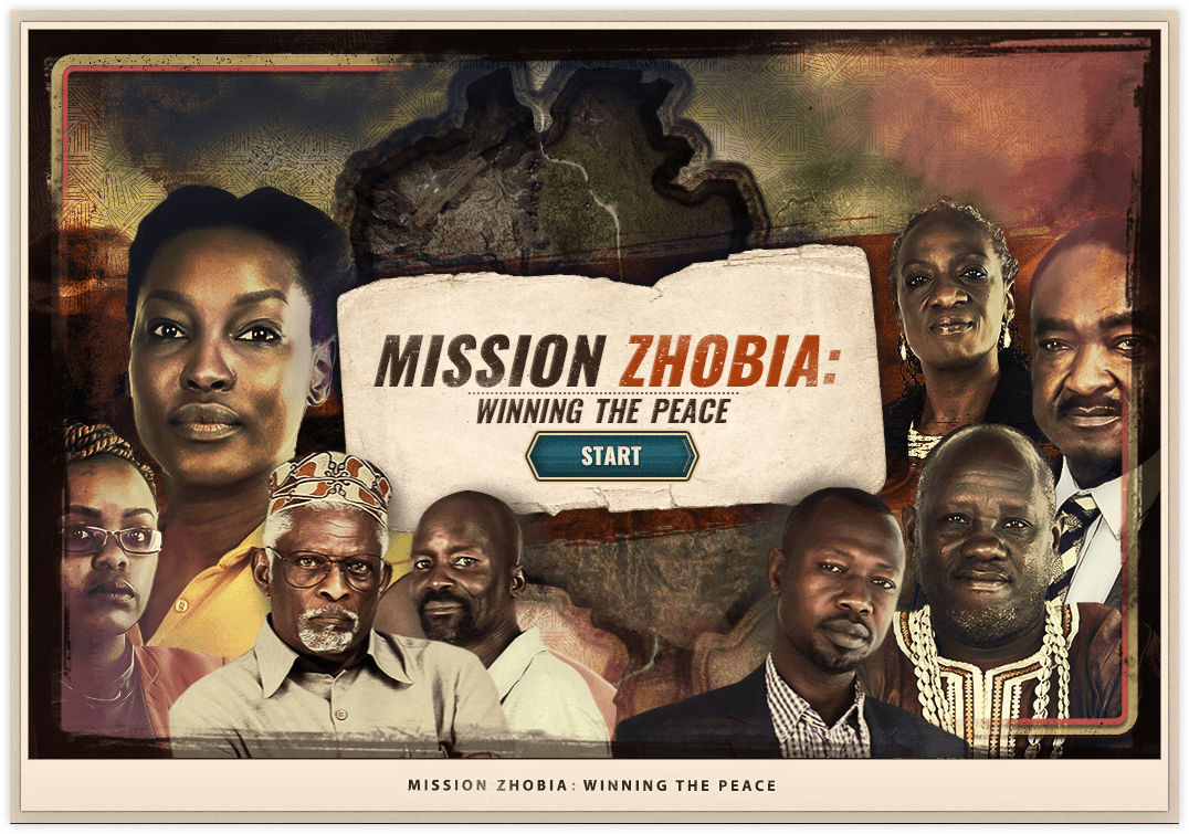 Mission Zhobia splashscreen showing the character cast and the game title