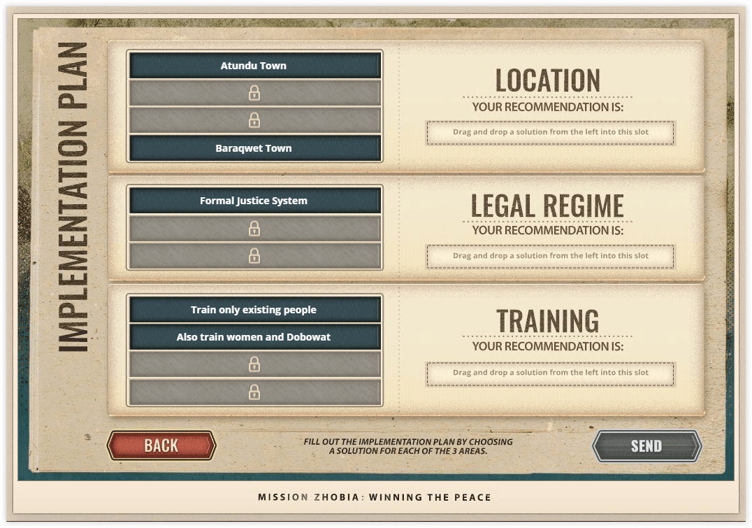 Mission Zhobia selection screen with UI panels